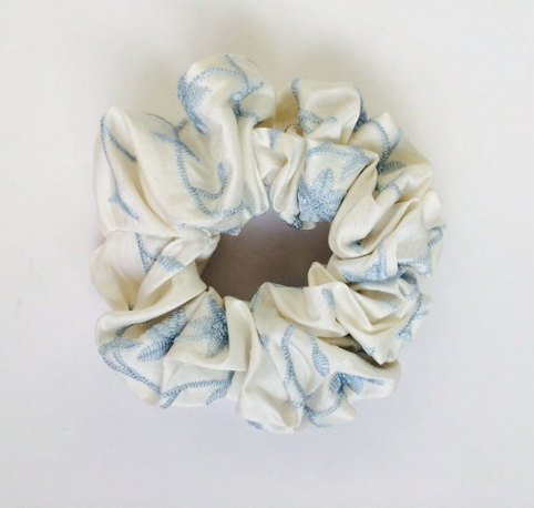 Ivory embroidered blue flower pure silk scrunchie