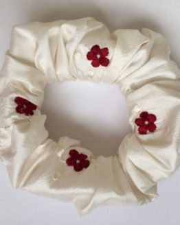 Ivory embroidered crimson flower pure silk scrunchie