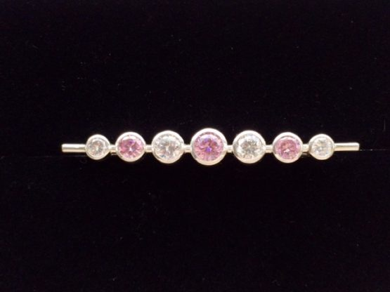 Pink Graduated Stones Stock Pin in Silver