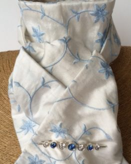 Ivory embroidered blue flower pure silk stock self tie