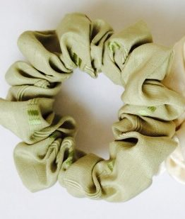 Sage green square motif scrunchie