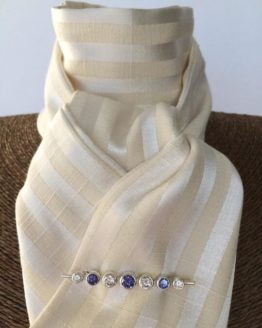 Pale cream satin stripe SELF TIE