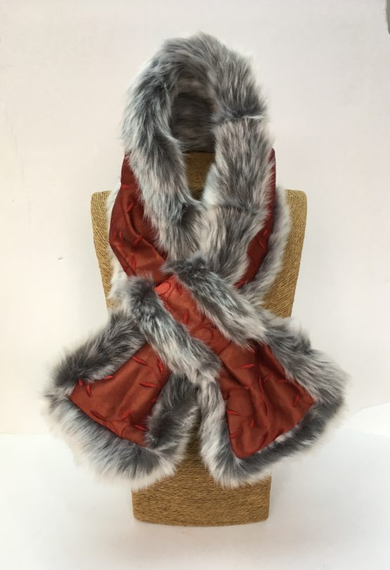 Claret silk and grey faux fur stole