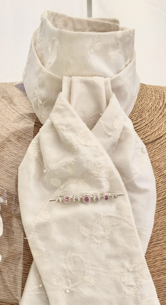 Hayely white beaded and embroidered silk stock pre tied with pink graduated stones silver stock pin