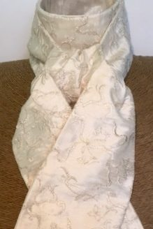 Ivory Embroidered Metallic Silver Silk Stock Self Tie
