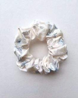 White Embroidered Blue Toned Flower Silk Scrunchie