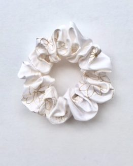 White Embroidered Honey Toned Flower Silk Scrunchie