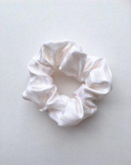White Satin Stripe Scrunchie