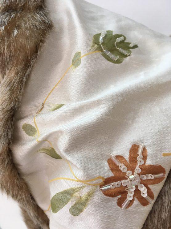 vCream silk and warm honey faux fur stole