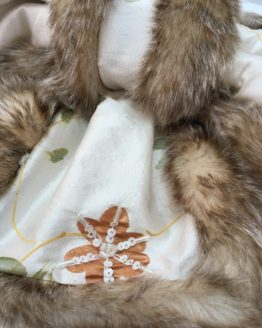 Cream silk and warm honey faux fur stole