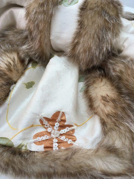Cream silk and warm honey faux fur stole