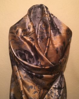 Camel and Grey Pure Silk Scarf