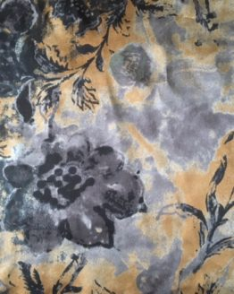 Camel and Grey floral Silk Scarf