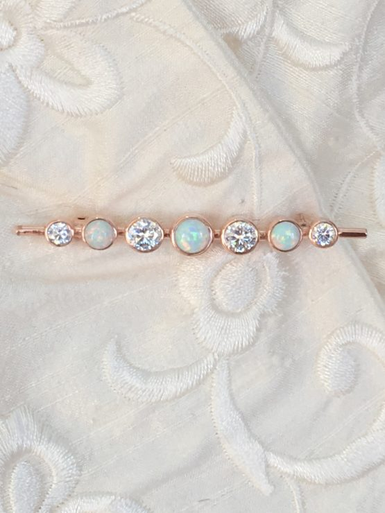 Graduated Stones White Opal Rose Gold Stock Pin
