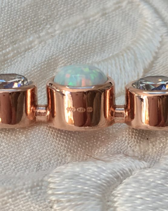 Stockpin Chic British Hallmark on our Graduated Stones White Opal Stock Pin in Rose Gold