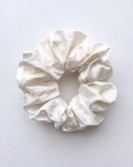 Hayley White Beaded and Embroidered Silk Scrunchie