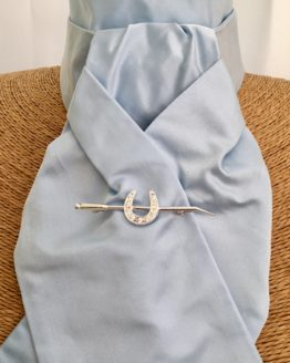 Pale Blue Pure Satin Silk Stock Pre Tied accessorised with our silver horse shoe on a whip stock pin