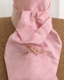 Pale Pink Pure Satin Silk Stock Pre Tied with Rose Gold Horse's Head on Cane Stock Pin