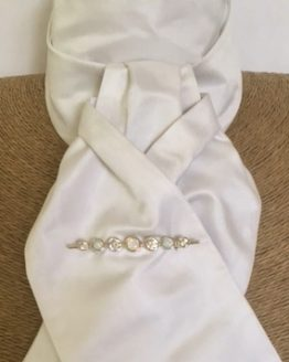 White Satin Silk Stock Pre Tied accessorised with our White Opal Silver Graduated Stones Stock Pin