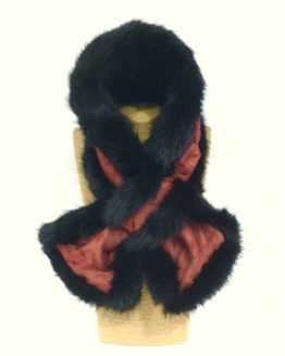 Claret Silk and Black Mink Faux Fur Stole