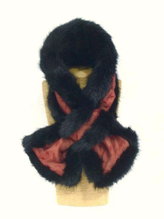 Claret Silk and Black Mink Faux Fur Stole