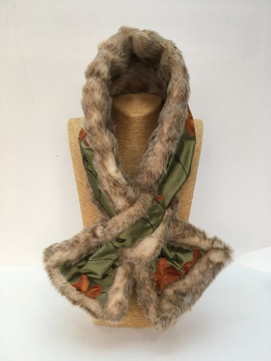 Green silk and honey faux fur stole