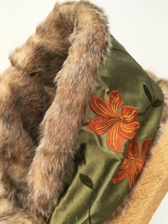 Green silk and honey faux fur stole neckline detail