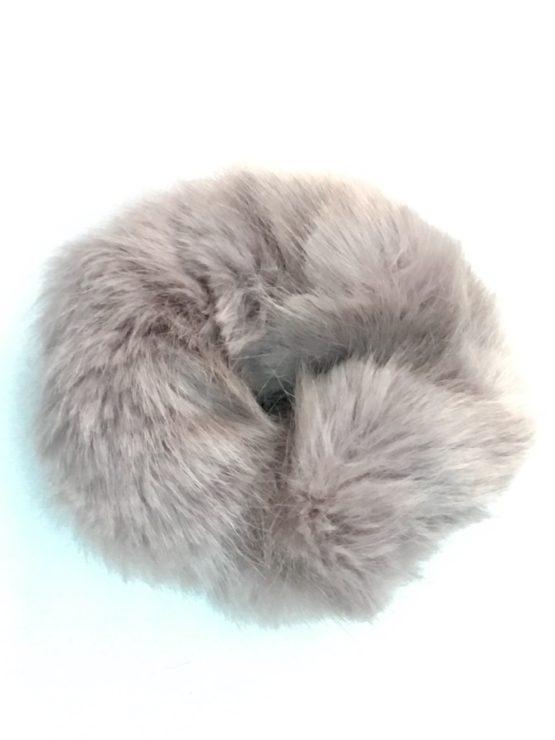 Grey Mink Faux Fur Scrunchie