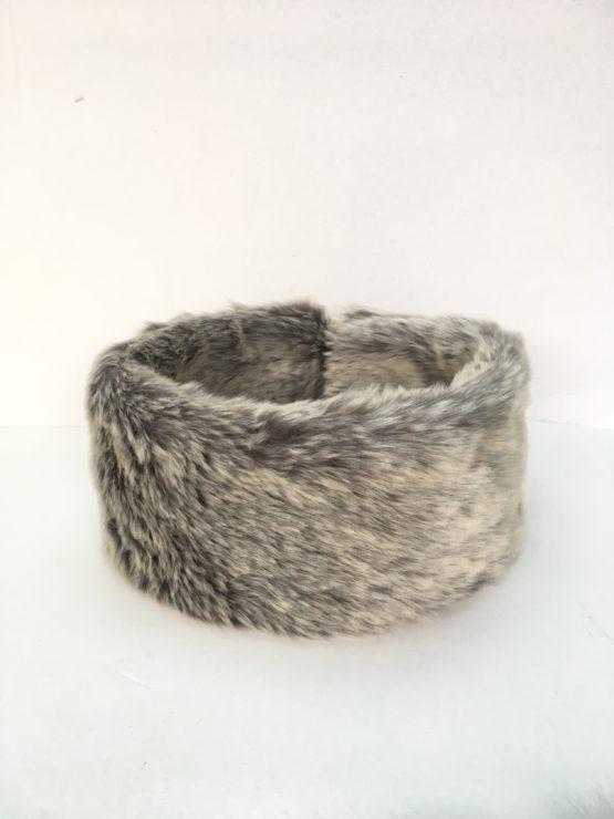Silver Grey Faux Fur Headband