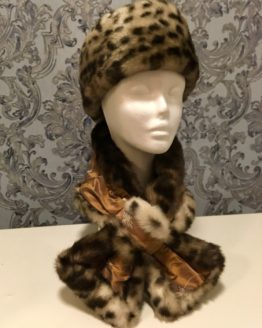 Bronze Silk and Leopard Faux Fur Stole