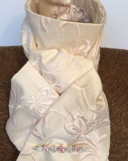 Blush Pink Embroidered Dupion Silk Stock Self Tie