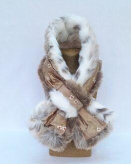 Cocoa Silk and Lynx Faux Fur Stole