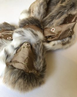 Cocoa Silk and Lynx Faux Fur Stole
