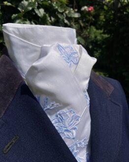 Blue & White Freesia in Silk Pretied Stock