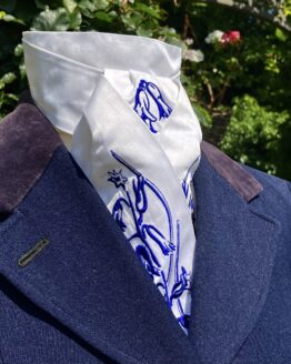 Navy Bluebell in satin silk pretied stock